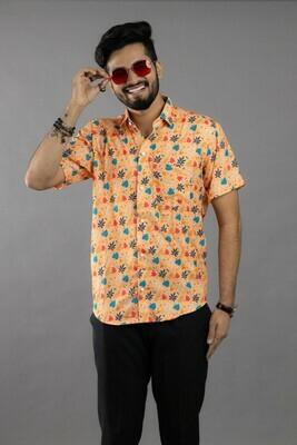 Mens Orange Leaf Printed Short Sleeves Casual Shirt