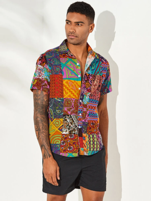 Mens Cotton Multi Color Ethnic Floral Printed Casual Shirt
