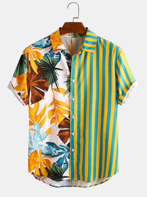 Mens Multi Color Tropical and Stripe Mixed Casual Beach Look Shirt