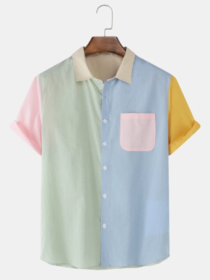 Mens Multi Color Patch Work Fully Stitched Cotton Shirt with Pocket