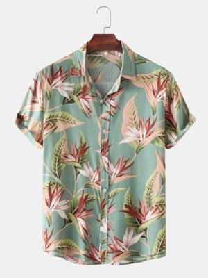 Mens Cotton Floral Print Turn Down Collar Hawaii Holiady Short Sleeve Shirt