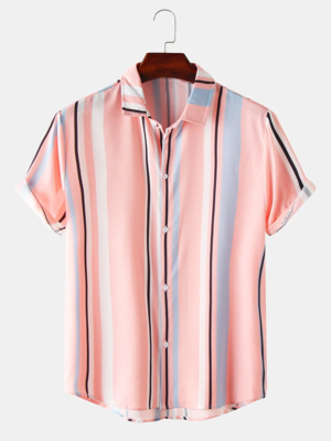 Mens Peach Color Short Sleeves Breathable Striped Casual Shirt