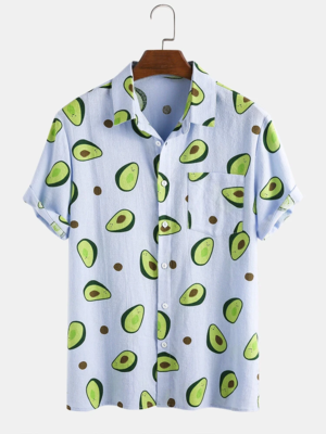 Mens Avocado Printed Breathable Short Sleeves  Fully Stitched Shirt with Pocket
