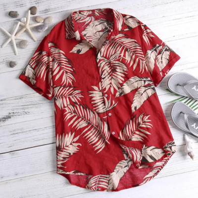 Mens Red Color Leaf Printed Beach Look Fully Stitched Shirt