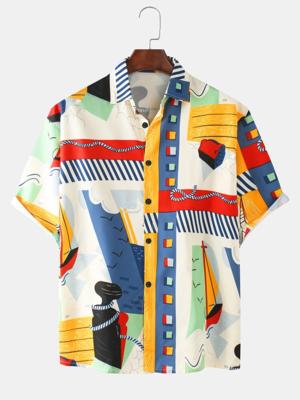 Mens Multi Cartoon Pattern Printed Breathable Casual Shirt