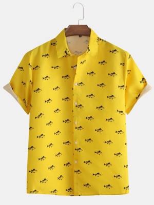Mens Yellow Fish Printed Cotton Fully Stitched Shirt