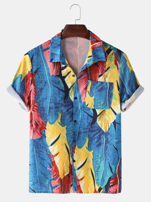 Mens Beach Look Blue Turn Down Collar Fully Stitched Cotton Shirt