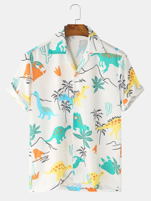 Mens White Dinosaur Animal Printed Breathable Turn Down Collared Shirt