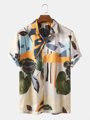Mens Lapel Neckline Floral Print Cotton Short Sleeve Fully Stitched Cotton Shirt