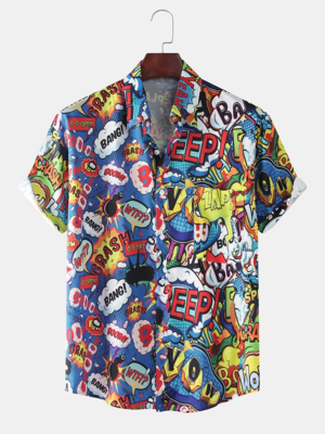 Mens Abstract Printed Breathable Casual Fully Stitched Cotton Shirt