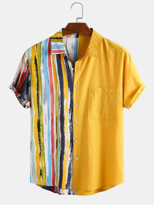 Mens Yellow Striped and Patchwork Cotton Holiday Look Fully Stitched Shirt