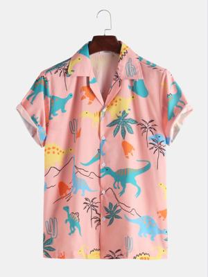 Mens Baby Pink Cotton Dinosaur Animal Printed Short Sleeves Fully Stitched Shirt