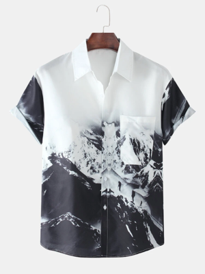 Mens Cotton Mountain Climbing Printed Turn Down Collar Fully Stitched Shirt