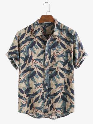 Mens Leaf Printed Beige Vintage Cotton Fully Stitched Shirt With Side Pocket