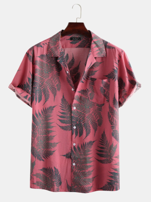 Mens Pink Pine Leaves Print Cotton Short Sleeve Relaxed Shirt
