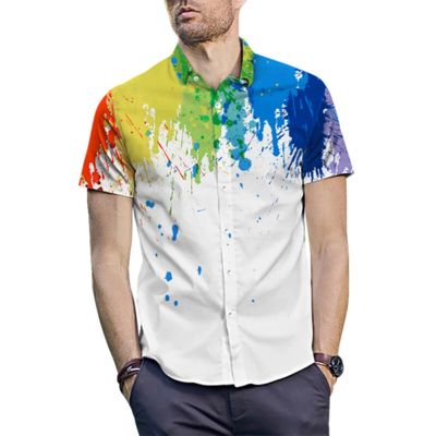 Mens White Cotton Splash Ink Watercolor Print Beach Look  Fully Stitched Shirt