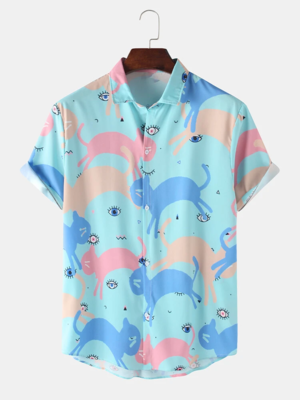 Cotton Cartoon Cat Printed Blue Color Turn Down Collar Fully Stitched Shirt