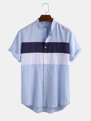 Mens Block Patchwork Cotton Breathable Short Sleeves  Shirt