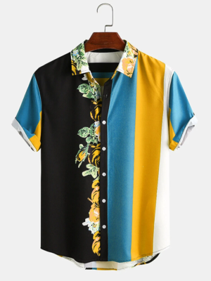 Mens Multi Colored Blossom Stripe Printed Holiday Look Fully Stitched Shirt