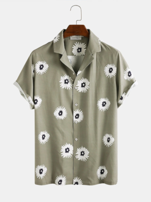 Olive Green Daisy Print Holiday Look Turn Down Collar Fully Stitched Shirt For Men