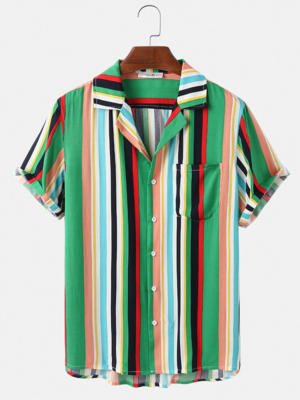 Holiday Beach Look Multi Color Vertical Stripe Fully Stitched Shirt for Men