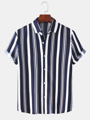 Black and White Revere Collar Cotton Vertical Striped Shirt For Men With Pocket