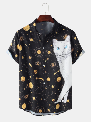 Mens Black Galaxy Cat Printed Turn Down Collar Cotton Shirt For Men