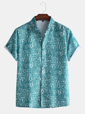 Mens New Loose Cartoon Animal Print Short Sleeve Casual Shirt