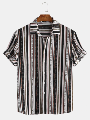 Mens Stripe Ethnic Style Turn Down Collar Short Sleeve Casual Shirts Full Stiched
