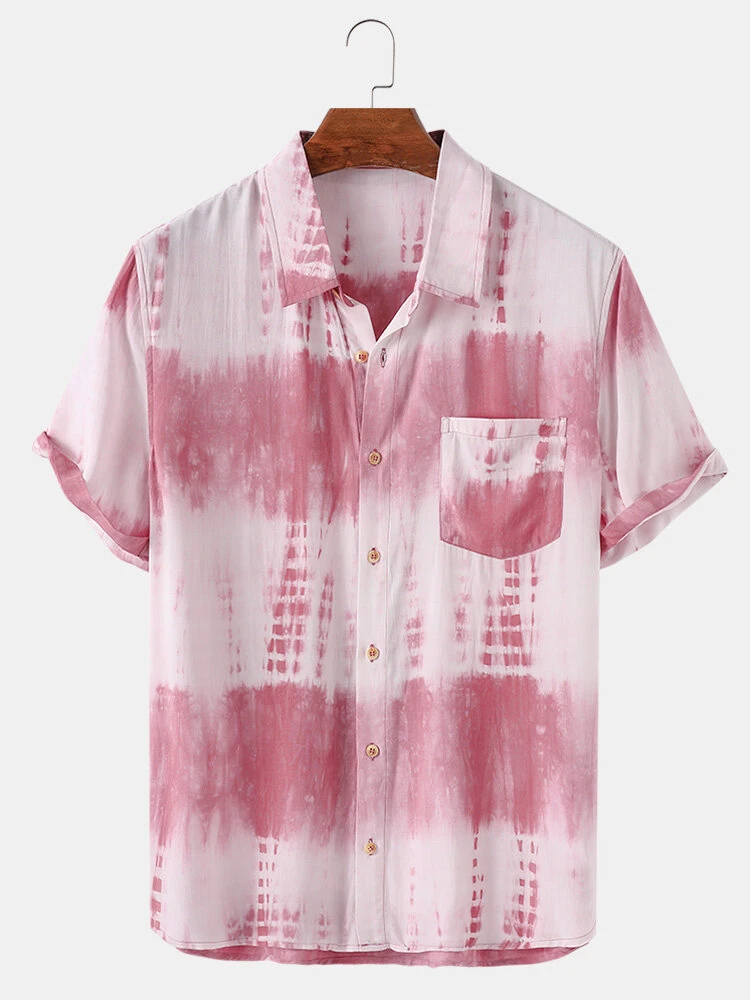 Pink Color Block Tie Dye Short Sleeve Casual Shirt For Men