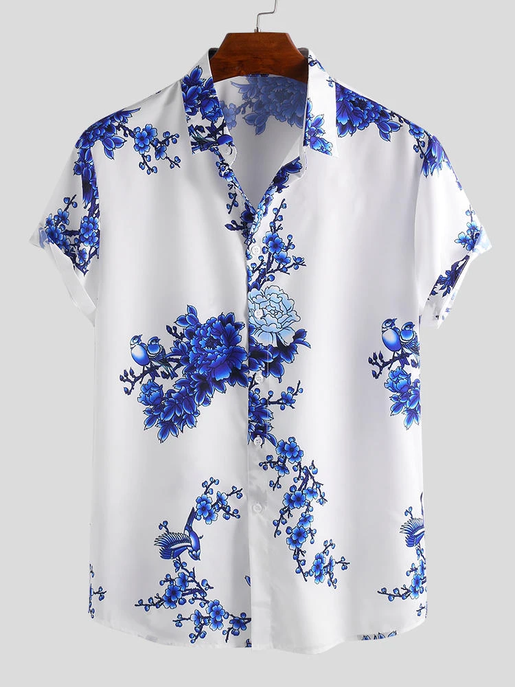 White And Blue Chinese Style Porcelain Floral Printed Short Sleeve Turn Down Collar Casual Shirt For Men