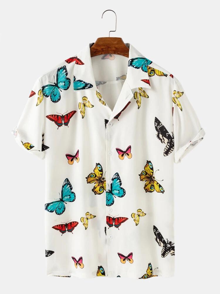 White Butterfly Print Casual Short Sleeve Revere Shirt For Men