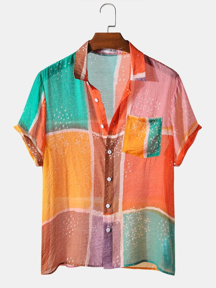 Multi Block Light Breathable Chest Pocket Short Sleeve Soft Casual Shirt For Men