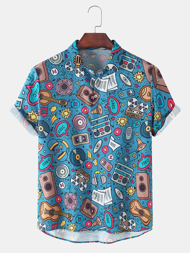 Blue Funny Multi Abstract Patterns Cartoon Short Sleeve Causal Shirt For Men