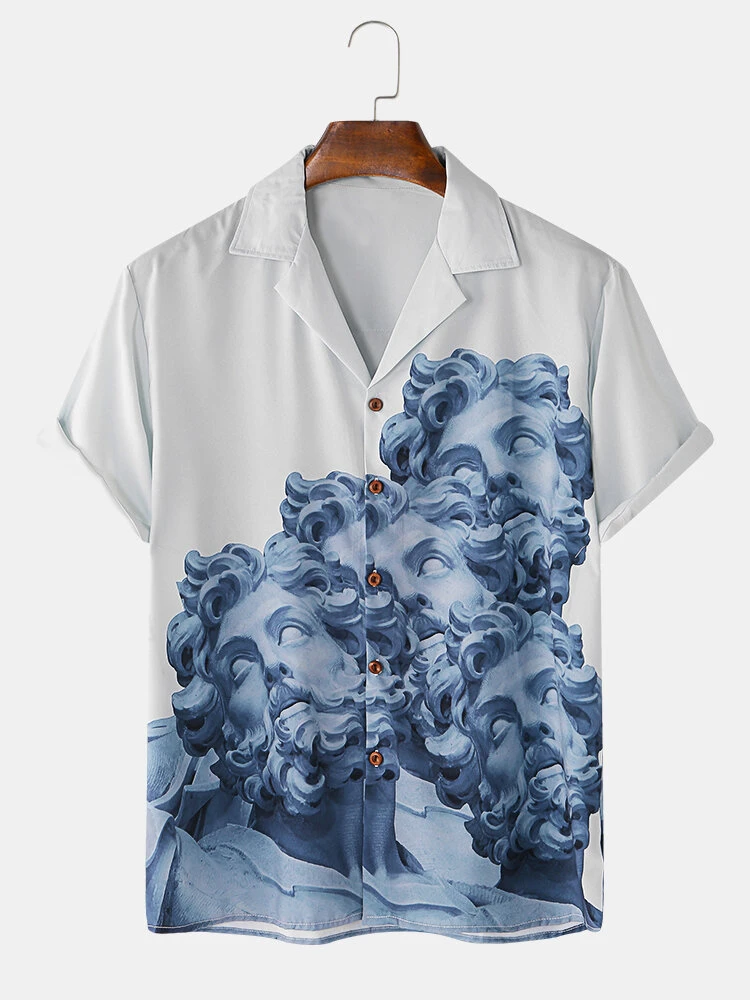 White And Blue Classicism Statue Pirnt Revere Collar Short Sleeve Casual Shirt For Men