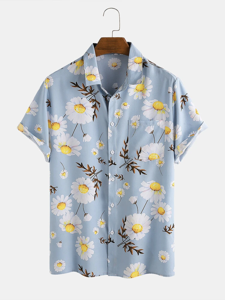 Blue Daisy Floral Printed Turn Down Collar Short Sleeve Hawaii Holiday Shirt For Men Women
