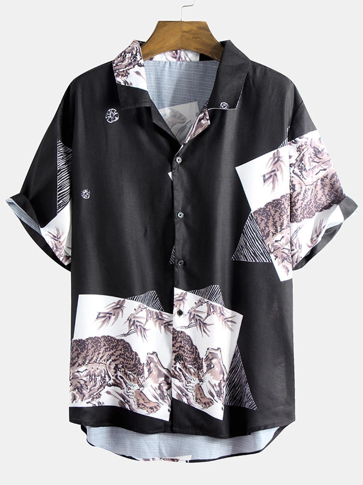 Black Landscape Painting Print Loose Comfy Turn Down Collar Casual Shirt For Men