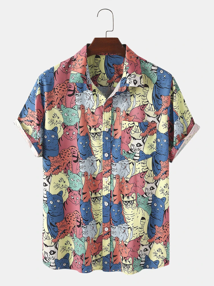 Funny Cartoon Colorful Cat Print Chest Pocket Casual Short Sleeve Shirt For Men