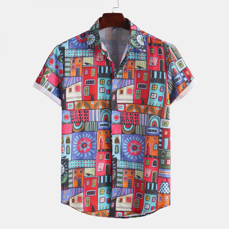 Multi Color Oriental Print Casual Short Sleeve Shirt For Men