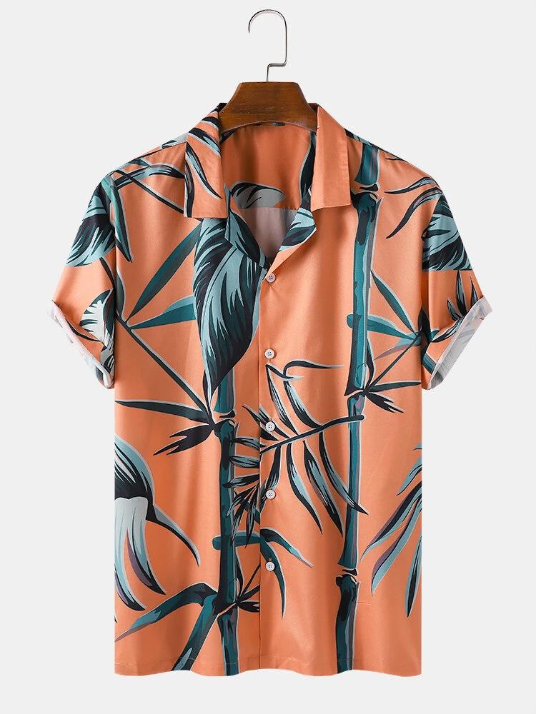 Orange Bamboo Pint Tropical Short Sleeve Shirt For Men