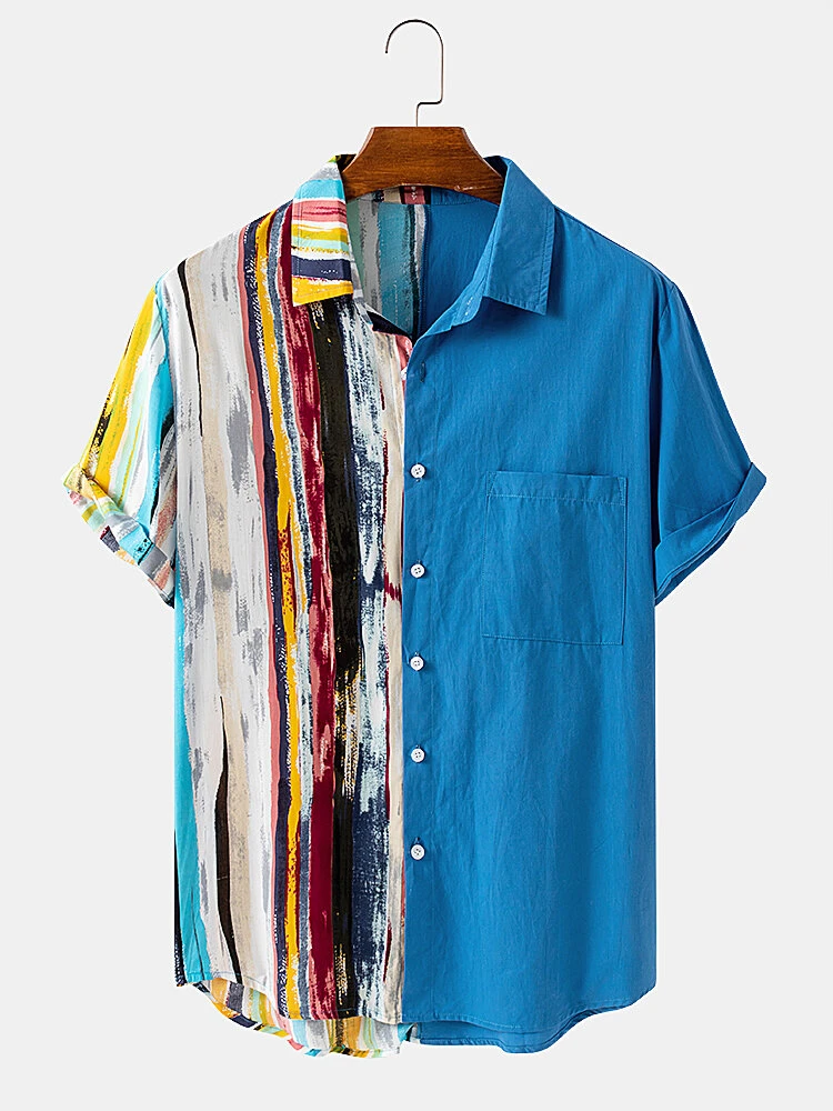 Blue Cotton Gradient Stripe Print Patchwork Chest Pocket Short Sleeve Casual Holiday Shirt For Men