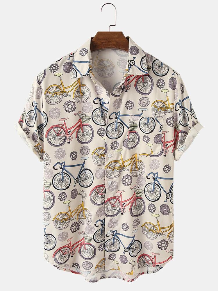 Cream Cartoon Bike Print Turn Down Collar Short Sleeve Shirt For Men