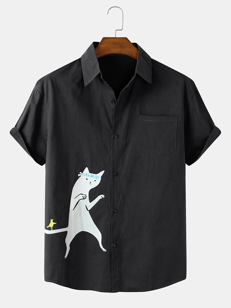 Black Cotton Men Funny Cartoon Cat Print Short Sleeve Shirt For Men