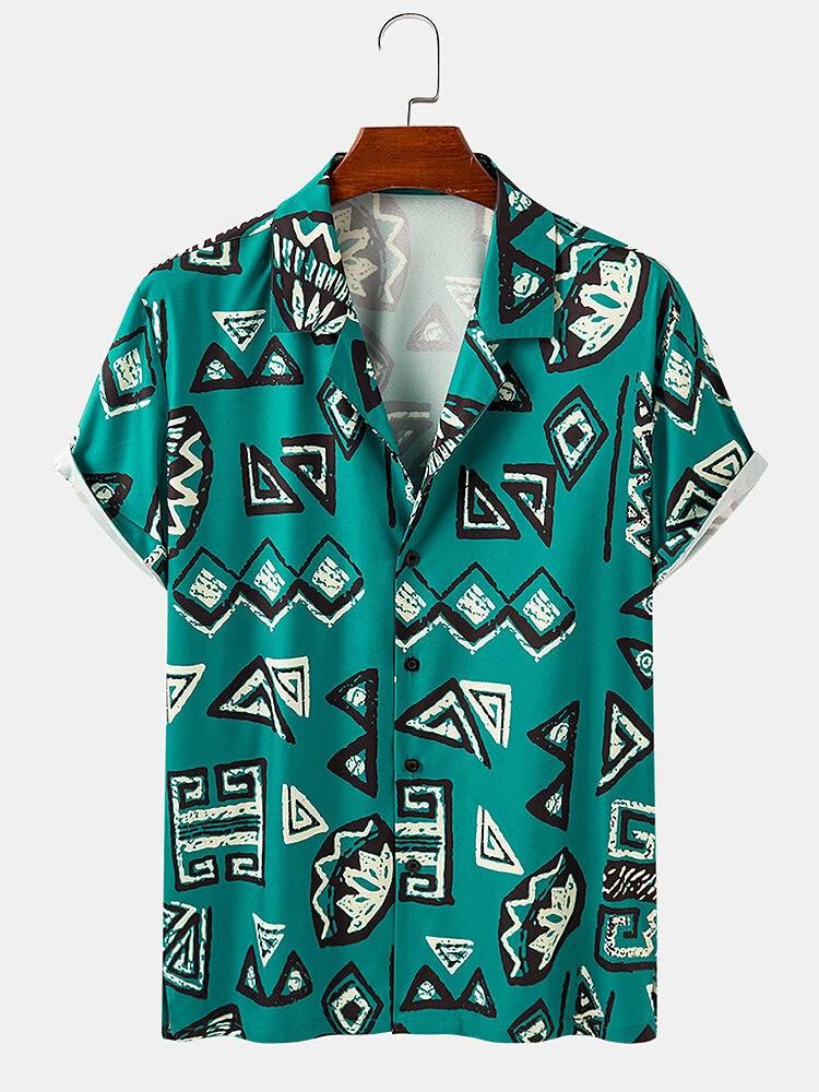 Green Geometric Print Short Sleeve Shirt For Men