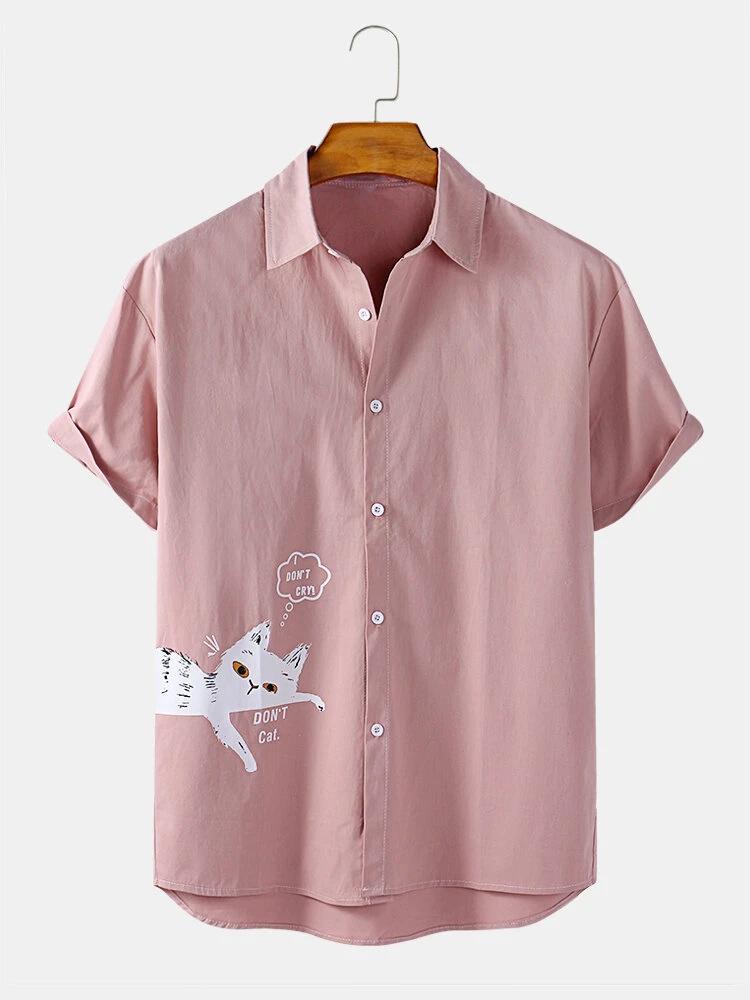Pink Cotton Funny Cat Cartoon Print Short Sleeve Casual Shirt For Men