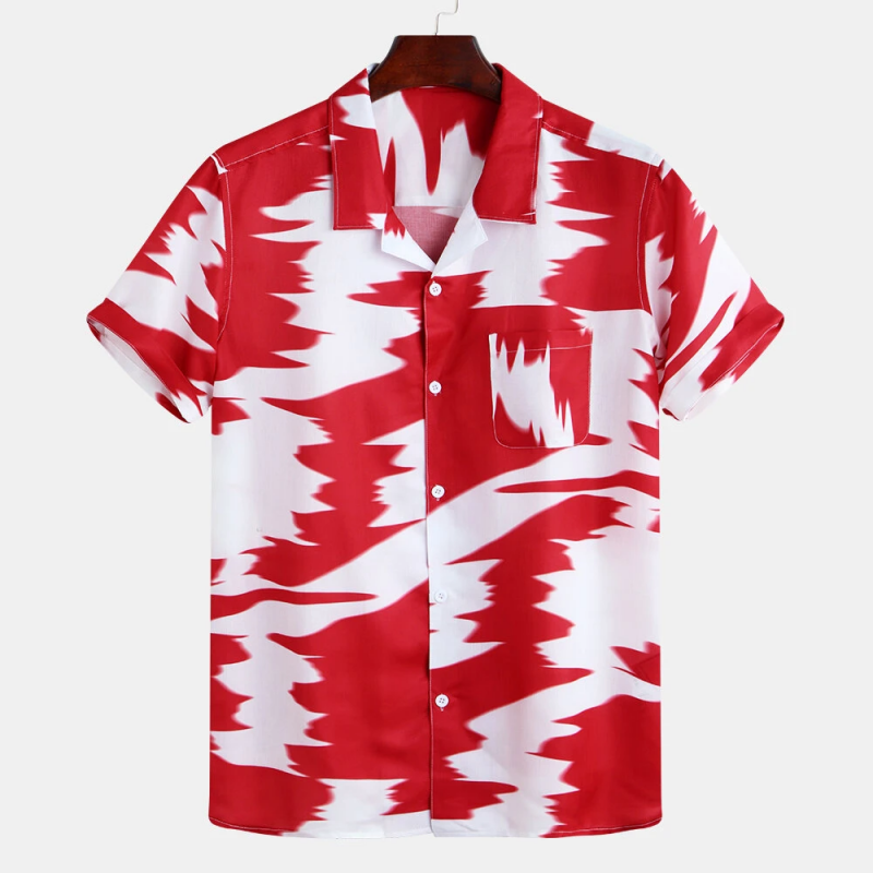 Red Abstract Printed Contrast Color Chest Pocket Short Sleeve Loose Fashion Shirt For Men