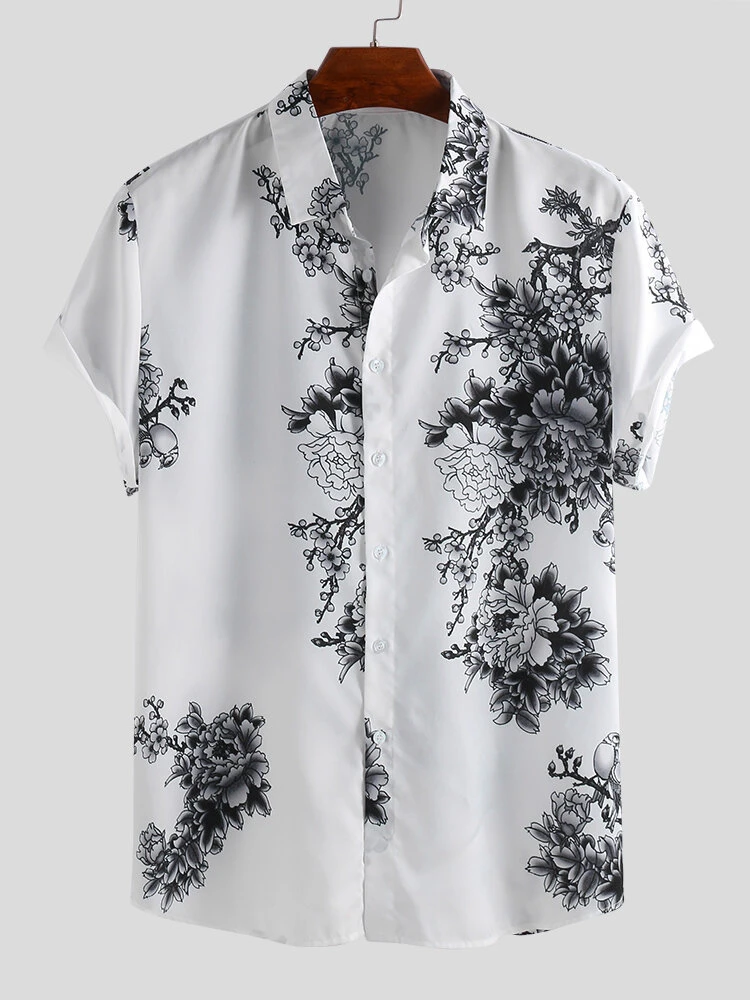White Chinese Style Porcelain Floral Printed Short Sleeve Turn Down Collar Casual Shirt For Men
