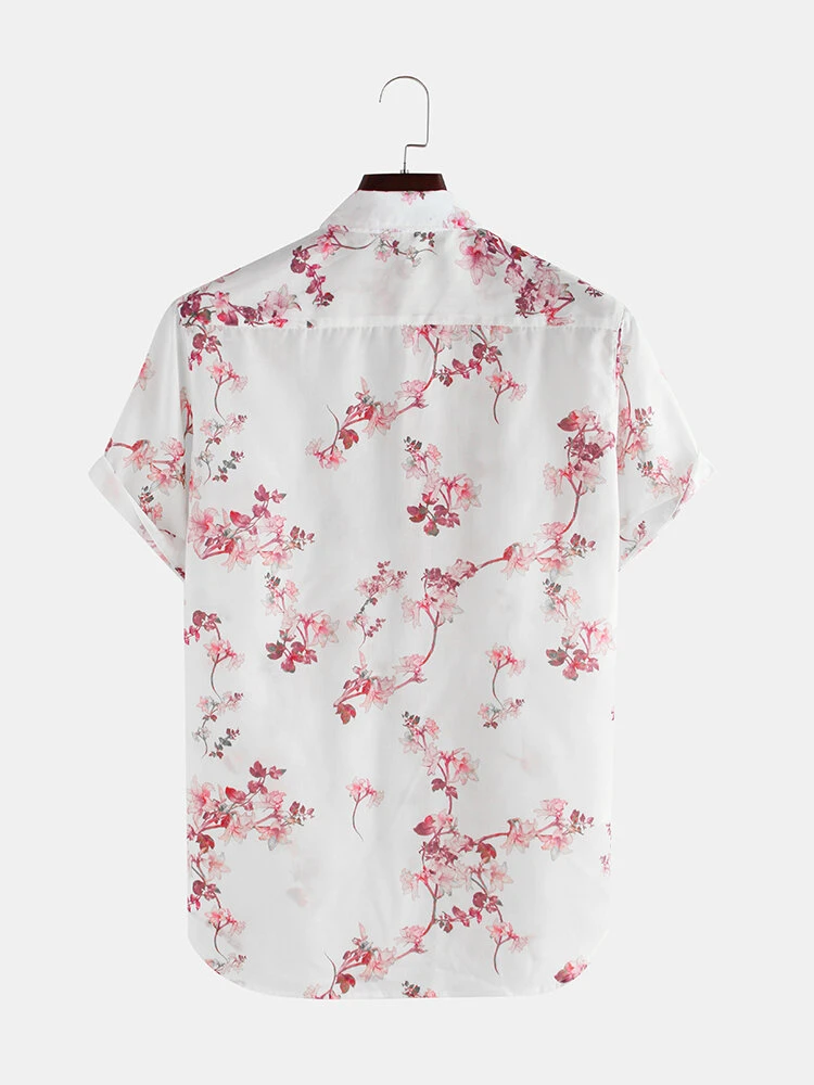 White Cherry Blossoms Floral Print Short Sleeve Casual Vacation Shirt For Men