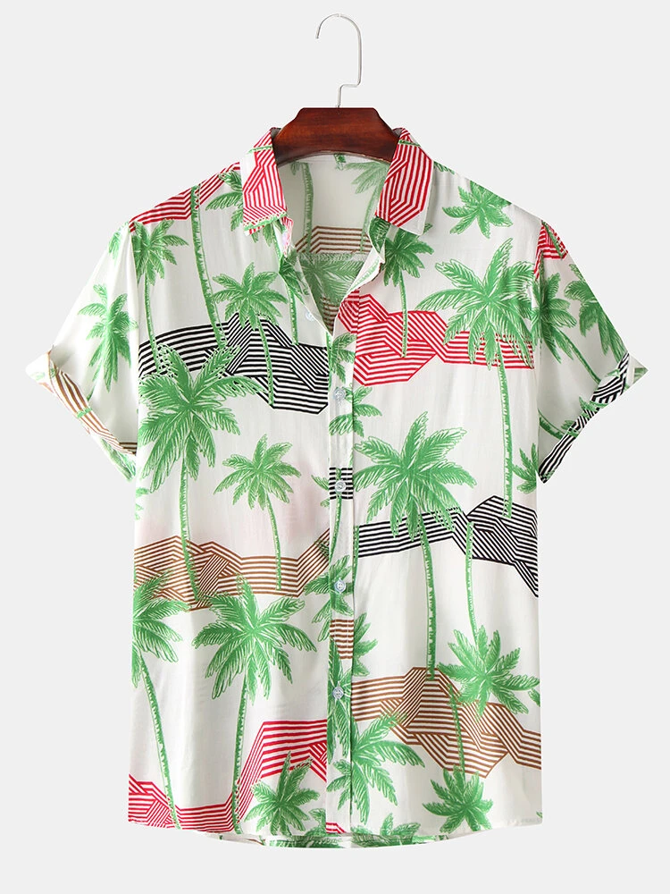 White Coconut Tree Geometric Stripes Cotton Short Sleeve Holiday Casual Shirt For Men