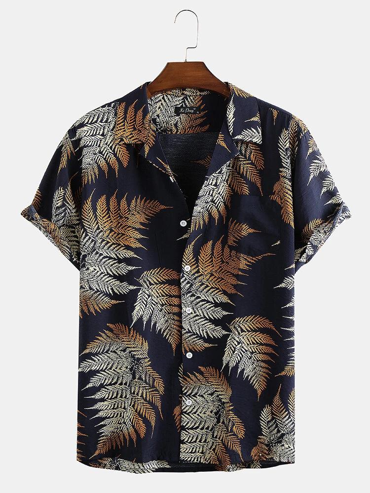 Blue Pine Leaves Print Cotton Short Sleeve Relaxed Shirt For Men